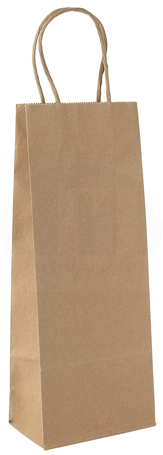 MT Products Paper Wine Gift/Shopping Bag with Handles (Pack of 12) (Kraft)