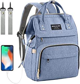 Diaper Bag Backpack, Mokaloo Large Baby Bag, Multi-functional Travel Back Pack, Anti-Water Maternity Nappy Bag Changing Bags with Insulated Pockets Stroller Straps and Built-in USB Charging Port, Blue
