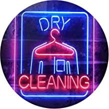Dry Cleaning Laundry Dual Color LED Neon Sign Blue & Red 300 x 400mm st6s34-i3607-br
