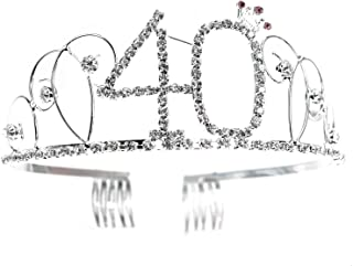 AQUEENLY 40th Birthday Crown and Sash, Rhinestone Crown with