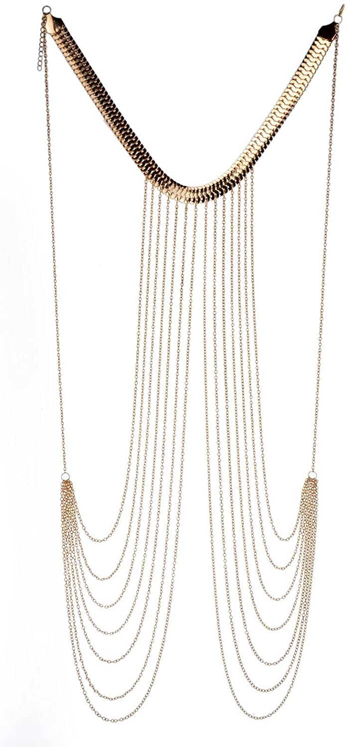 JOJO & LIN 2021 New Gold Body Chain Harness Adjustable with Fine Chain Multirow Necklace Gold Chain Necklace Chain Jewelry Chains for Women