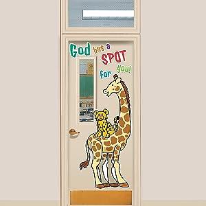 Fun Express God Has A Spot for You Door Decor Set - 13 Pieces - Great for Classroom Doors