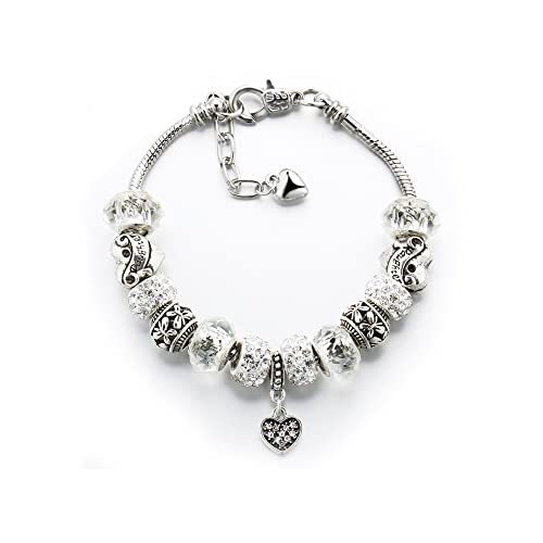5ee73bcfcee Ashliana Vintage Carved Handmade Glass & Swarovski Elements Crystal Sterling  Silver Plated Charm Bracelets in Gift