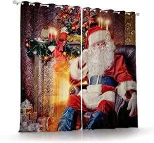 Print Christmas Curtains Living Room Bedroom Kitchen,Thermal Blackout Christmas Window Curtains Party backdrops for Wall,Window Drapes 2 Panel,Santa Claus by The fire