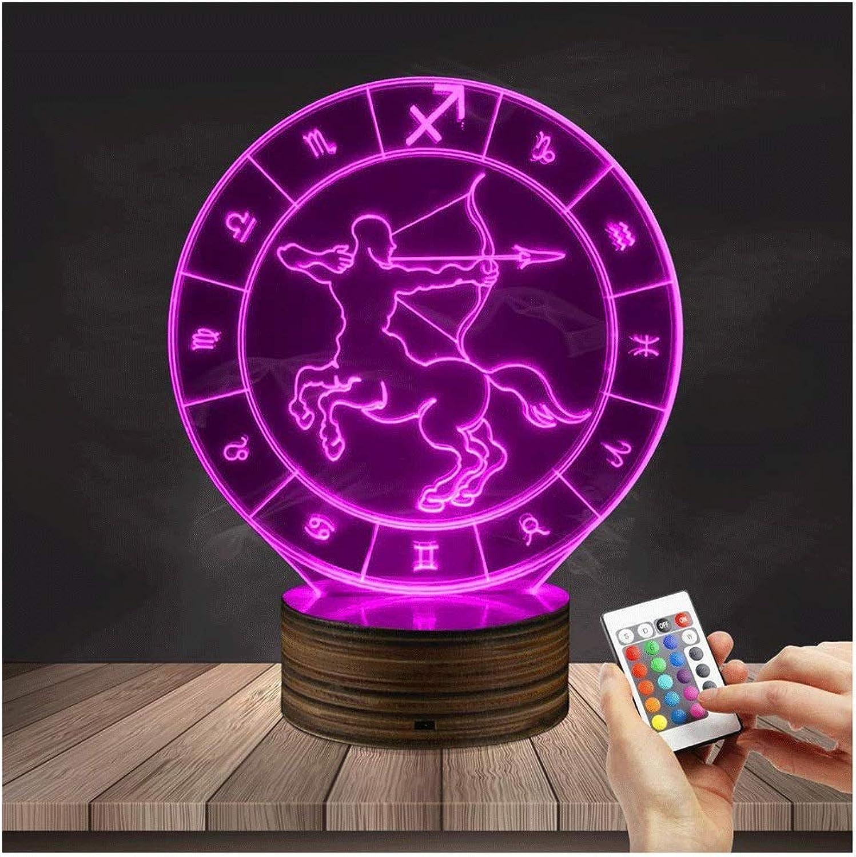 LIX-XYD Umgebungslicht, 3D LED 16 Farbwechsel Optische Tuschung Tisch Schreibtischlampe Dekor Beleuchtung Geburtstagsgeschenk Schütze Nachtlicht Stimmungslicht