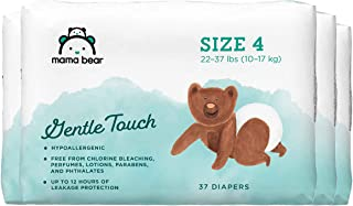 Amazon Brand - Mama Bear Gentle Touch Diapers, Size 4, Assorted Print, 148 Count (4 packs of 37)