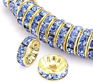 100pcs 8mm AAA 14k Gold Plated Copper Brass Rondelle Spacer Round Loose Beads Light Sapphire Austrian Crystal Rhinestone for Jewelry Crafting Making CF4-814