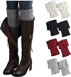 4 Pairs Womens Boot Cuffs Toppers Crochet Knitted Short Leg Warmers Boot Socks