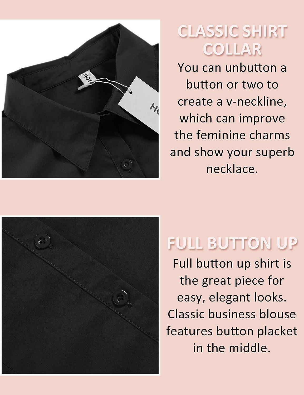 Hotouch Womens Cotton Basic Button Down Shirt Slim Fit Dress Shirts