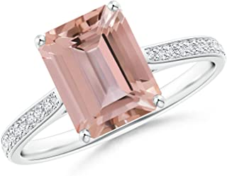 Emerald-Cut Morganite Cocktail Ring with Diamond Accents (9x7mm Morganite)