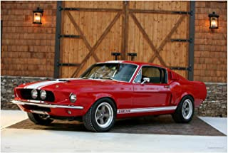 Red 1967 Ford Mustang Shelby Cobra GT500 Poster (16x24 inches)