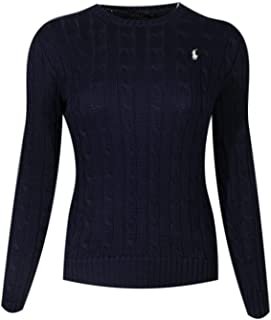 Ralph Lauren Polo Womens Cable Knit Crew Neck Sweater (Small, Hunter Navy/White Pony)