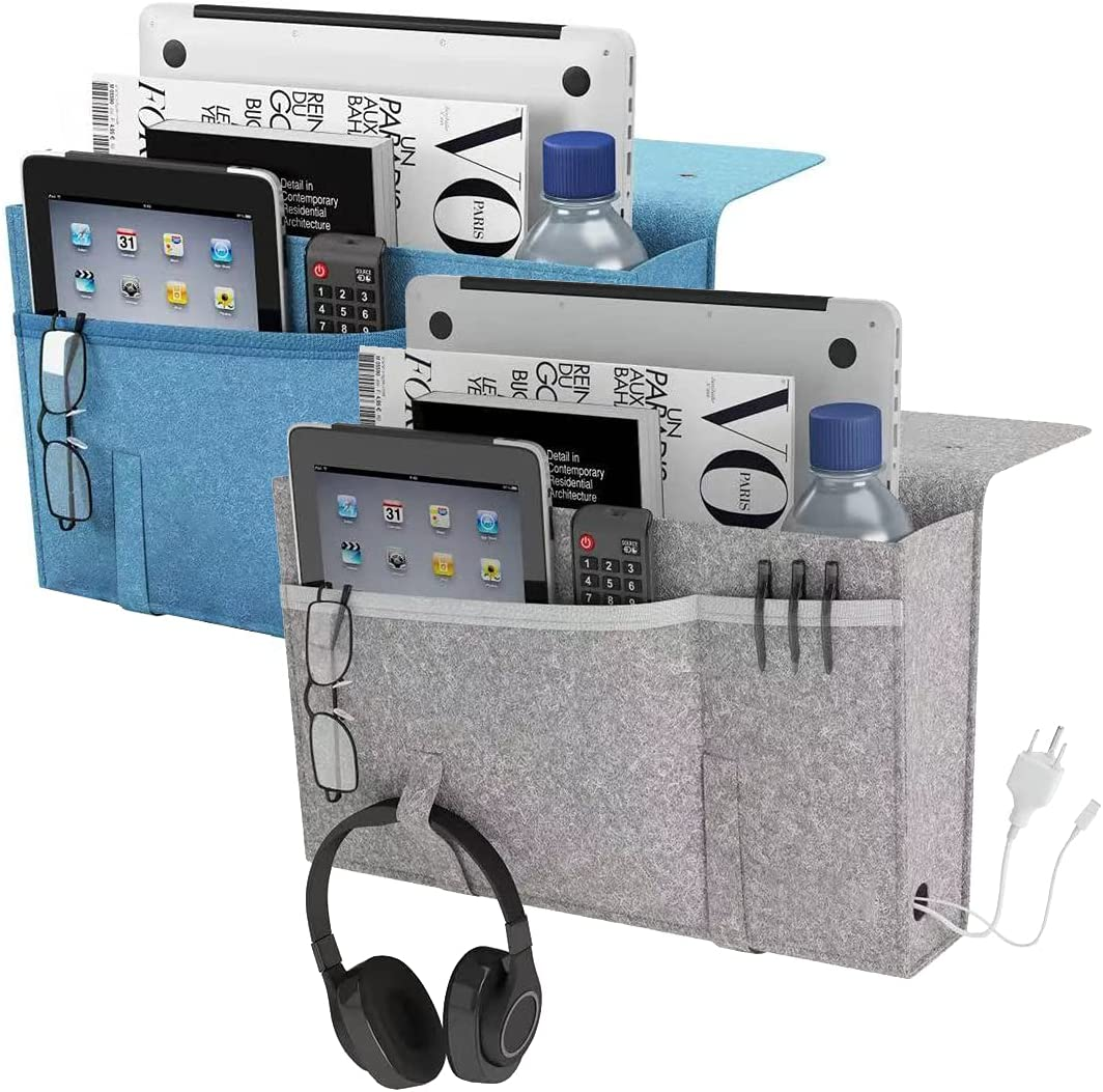 W Design Bedside Caddy for Dorm Room, Sofa, Couch, Hospital Bed, Bed Frame -2 pcs Gray & Blue : Home & Kitchen