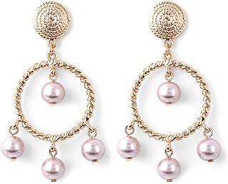 Estele Gold Tone Plated Metal Brass Princess Earrings for Women (Gold)