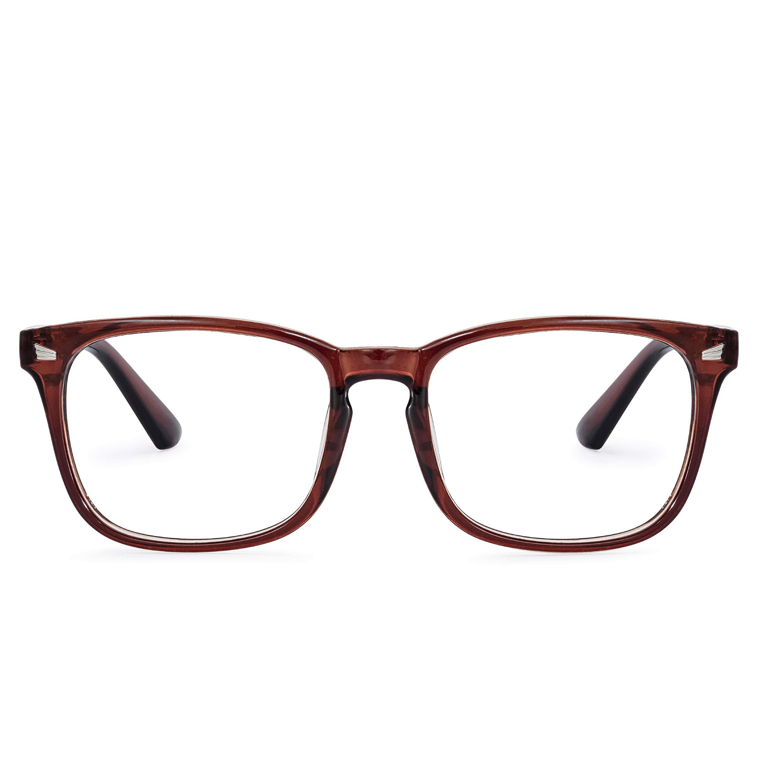 Amazon Com Noel Oscar Blue Light Blocking Glasses For Computer Use Anti Eye Strain Uv Filter Lens Lightweight Eyeglasses Men Women Tea Brown Computers Accessories