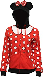 Minnie Mouse Juniors' I Am Minnie Costume 3D Ears And Bow Adult Zip Hoodie Sweatshirt