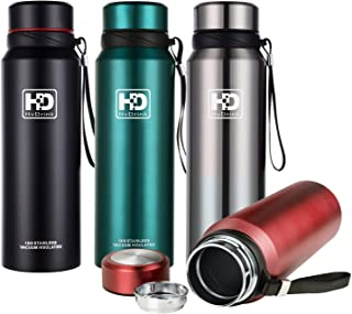 Hiwill Water Bottle Insulated Stainless Steel Wide Mouth Vacuum Thermos, Built-in Filter, with Leak Proof Cap and Strap, Idea for Drinking at Home, Office, Gym, Cycling, Traveling, Camping