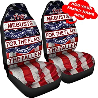 Personalized Family Name USA Patriot American Flag Car Seat Covers Accessories Size Universal Fit Navy Marine Air Force Army Patriotic Custom Gifts for Veteran Military Men Women Dad Mom Grandpa Son