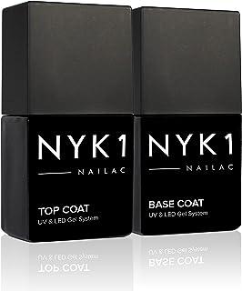 NYK1 Gel Top Coat Y Base Coat Conjunto (10ml x 2) Profesional De Gel Para Uñas Base Y Top Coat Semipermanente - UV Y LED Shellac Compatible Gel Base Coat Y Top Coat Permanente Semi Para Uñas