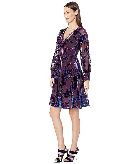 dee75c930677 Marchesa Notte Bishop Sleeve Printed Velvet Burnout Cocktail Dress ...