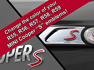 Artistic Reflection S Vinyl Decal Insert Replacements for Mini Cooper S 2nd Gen R55 R56 R57 R58 R59 Scuttle and Rear Emblem - Choose Color - [RED]