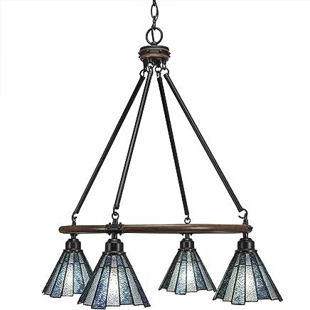 Toltec照明Blacksmith 4ライトシャンデリアSea Iceティファニーガラス