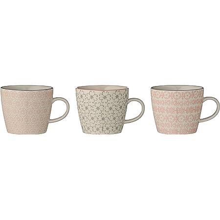 Tasses à café Cécile, Rose et Gris, 3 pièces