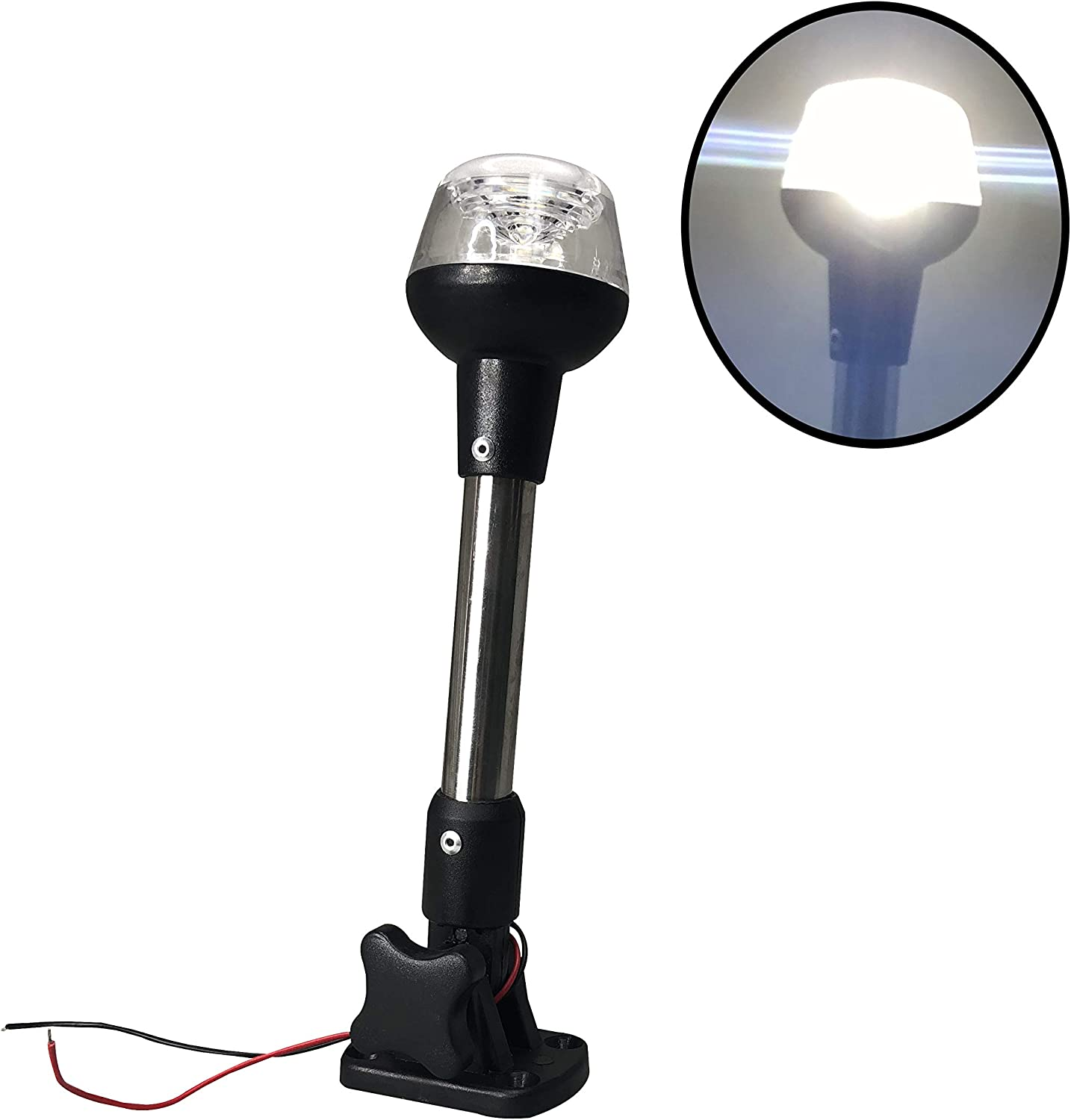 Pactrade Marine Adjustable Folding All Max 68% OFF Pole Max 81% OFF Round Light LED Navi