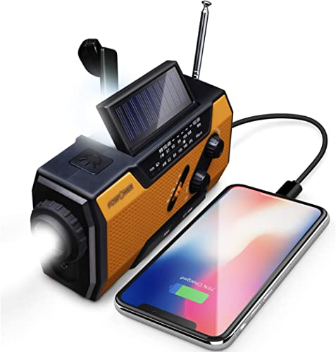 FosPower 2000mAh NOAA Emergency Weather Radio (Model A1) Portable Power Bank with Solar Charging, Hand Crank & Batter...