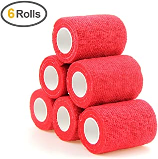 MUEUSS Self-Adhesive Bandage Wrap Tape Waterproof Breathable Elastic Cohesive Non-Woven FDA Approved 3 Inches x 5 Yards (Red,  6 roll)
