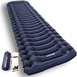 وسادة نوم خفيفة للغاية قابلة للنفخ للتخييم - حصيرة مع مضخة قدم مدمجة، خفيفة الوزن 18.3 أوقية مرتبة هوائية صغيرة ، أفضل وسا...