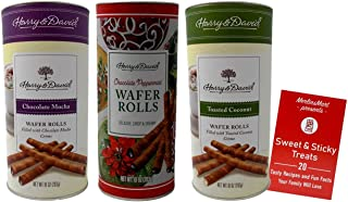 Harry & David Premium Cream Filled Rolled Wafers Gourmet Cookies 3 Flavor Plus Recipe Booklet Gift Bundle, (1) each: Chocolate Mocha, Chocolate Peppermint, Toasted Coconut (10 Ounces)