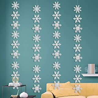 Christmas Party Decorations,36Pcs Silver Glittery Snowflake Hanging Garland Flags -Christmas Party Holiday Winter Wonderla...