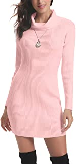 Abollria Women Long Sleeve Turtleneck Knit Stretchable Elasticity Sweater Bodycon Dress