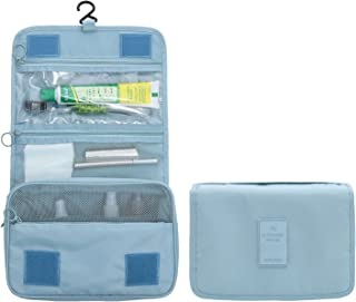 New Hanging Toiletry Bag Bathroom Organizer Travel Nylon Portable Cosmetic Bag for Women and Men (Light Blue)