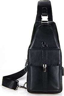 LAOSHIZI Leather Sling Bag for Men Crossbody Chest Bag Shoulder Backpack Water Resistant Anti Theft
