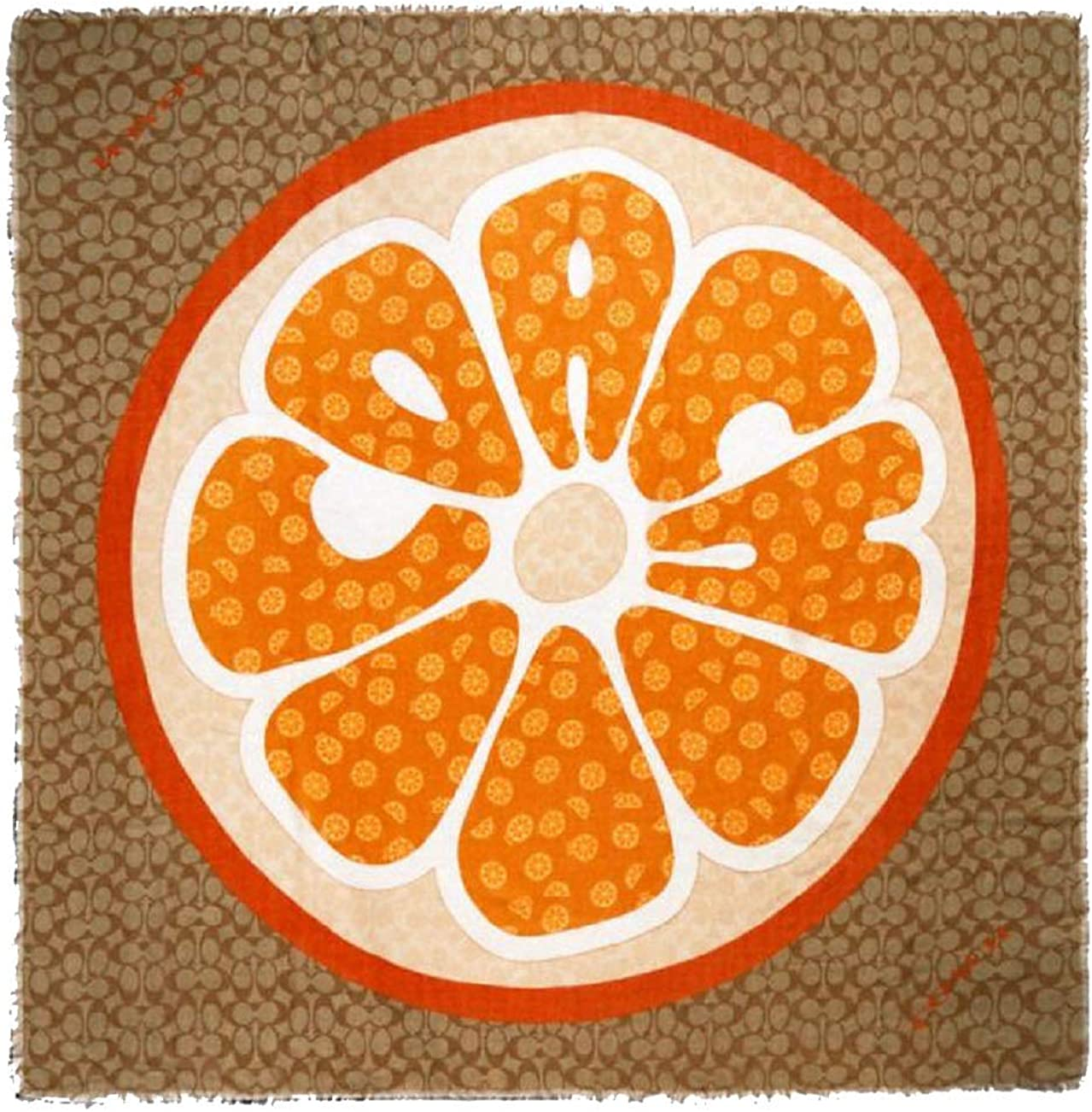 Coach Signature Orange Slice Print Oversized Square Scarf
