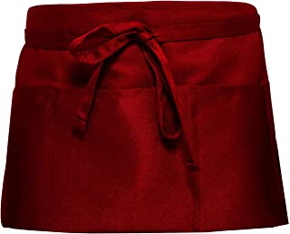 SONGXIN Server Aprons with 3 Deep Pockets - Waist Apron Waiter Waitress Apron Water Resistant Added Long Waist Strap Reinforced Seams Half Apron for Women Man Restaurant Apron, Red