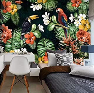 Feisenbz Custom Wallpaper 3D Photo Mural Hand Drawn Parrot Tropical Rainforest Tropical Plant Cartoon Tv Background Wall Paper-B