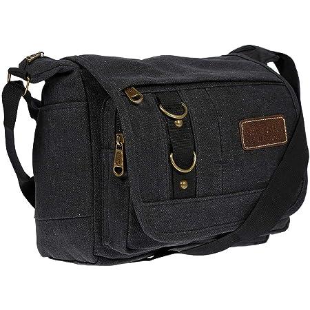 Christian Wippermann Damen Tasche Schultertasche Umhängetasche aus Canvas inversch. Farben Schwarz