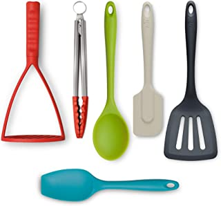 Zeal JSET47QB Non-Stick Silicone Tongs, Turner, Spatula, Cooks Spoon, Spatula & Masher 6-Piece Set-Bright Mix