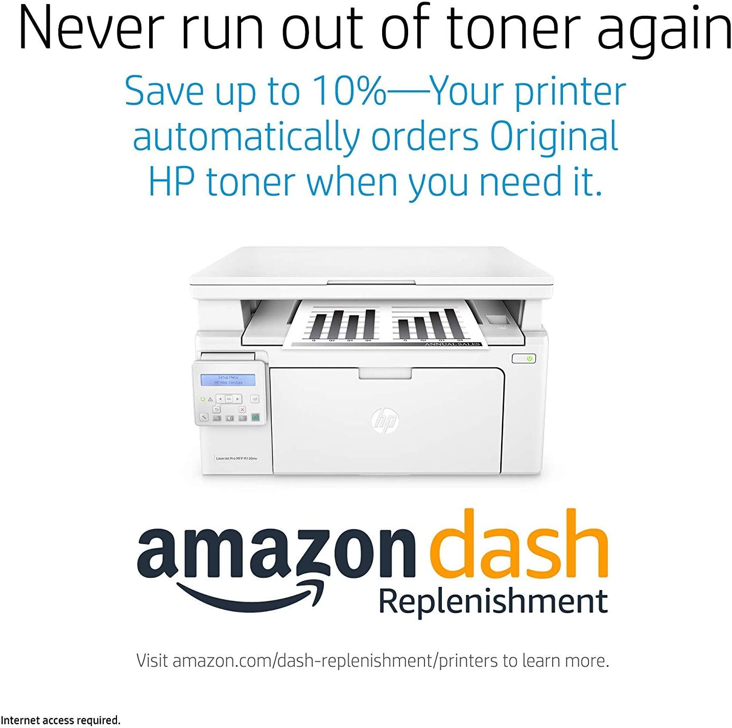 G3Q58A Replaces HP M125nw Laser Printer HP LaserJet Pro M130nw All-in-One Wireless Laser Printer Dash Replenishment ready