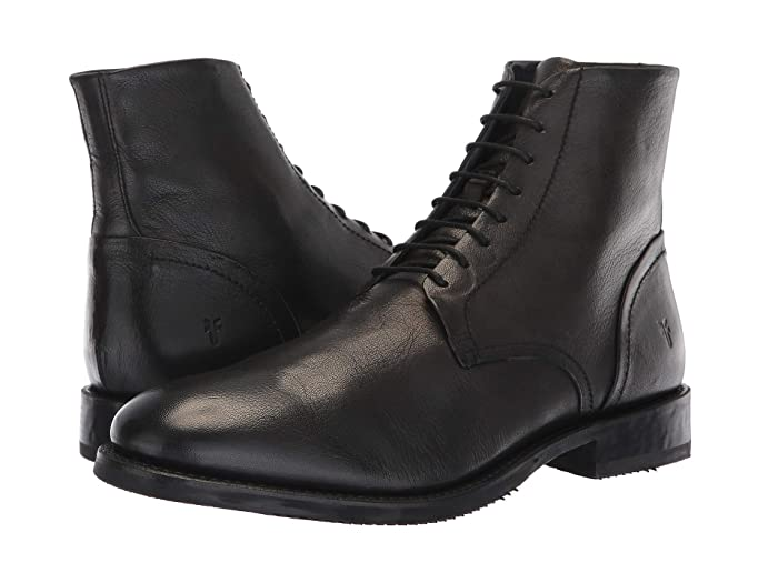 1920s Boardwalk Empire Shoes Frye Corey Lace-Up Black Goat Dip-Dye Mens Lace-up Boots $180.99 AT vintagedancer.com