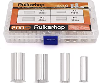 Ruikarhop 200PCS (AWG 8 6 4 2) 2-8 Gauge Wire Ferrules Kits Silver Plated Copper Crimp Connector Non Insulated Ferrules Pin Cord End Terminal