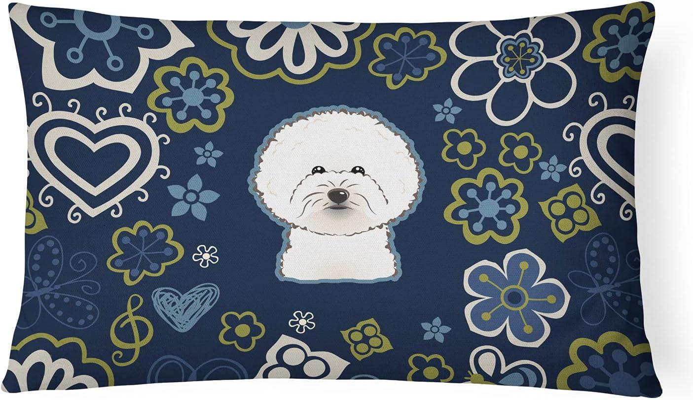 Caroline's Treasures BB5068PW1216 Blue Flowers Bichon Frise Canvas Fabric Decorative Pillow, 12H x16W, Multicolor