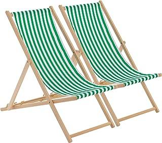 Harbour Housewares Tumbona reclinable y Plegable - Ideal para Playa y jardín - Estilo Tradicional - Rayas Verdes/Blancas - Pack de 2