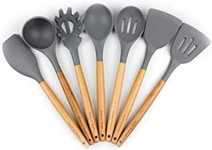 Silicone Kitchen Utensil Set by House of Shade - Non Scratch Cooking Utensils w/ Natural Beechwood Handles - BPA Free Grey Heads - 7 Piece Nonstick/Heat Resistant Tools - Great Wood Grip