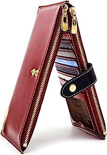ANDOILT - Cartera de piel auténtica para mujer con bloqueo RFID y cierre para tarjetas de crédito - Rojo - Talla única