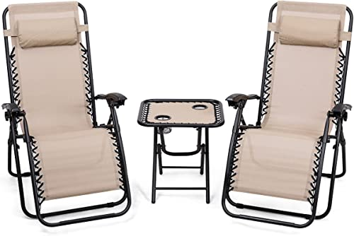 high quality Giantex online 3 PCS Zero Gravity Chair Patio Chaise Lounge lowest Chairs Outdoor Yard Pool Recliner Folding Lounge Table Chair Set Backyard Lounge Chairs (Beige) sale