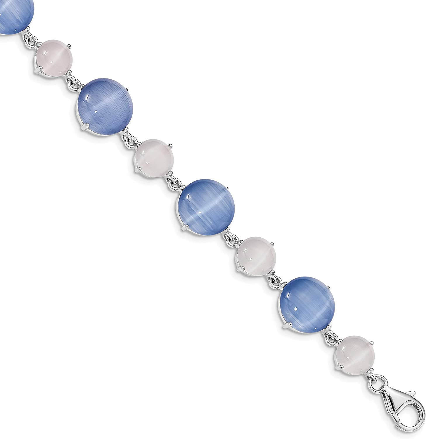 Sterling NEW before selling Silver Rhodium-plated Created Blue 1in ext Eye w Cat's 5 popular